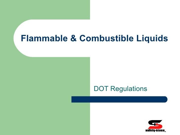 Flammable & Combustible Liquids DOT Regulations