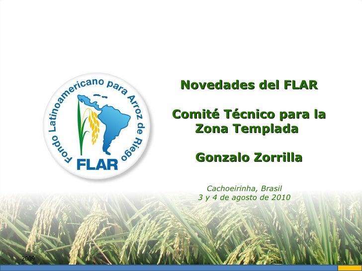 2009 Novedades del FLAR Comité Técnico para la Zona Templada  Gonzalo Zorrilla Cachoeirinha, Brasil 3 y 4 de agosto de 2010