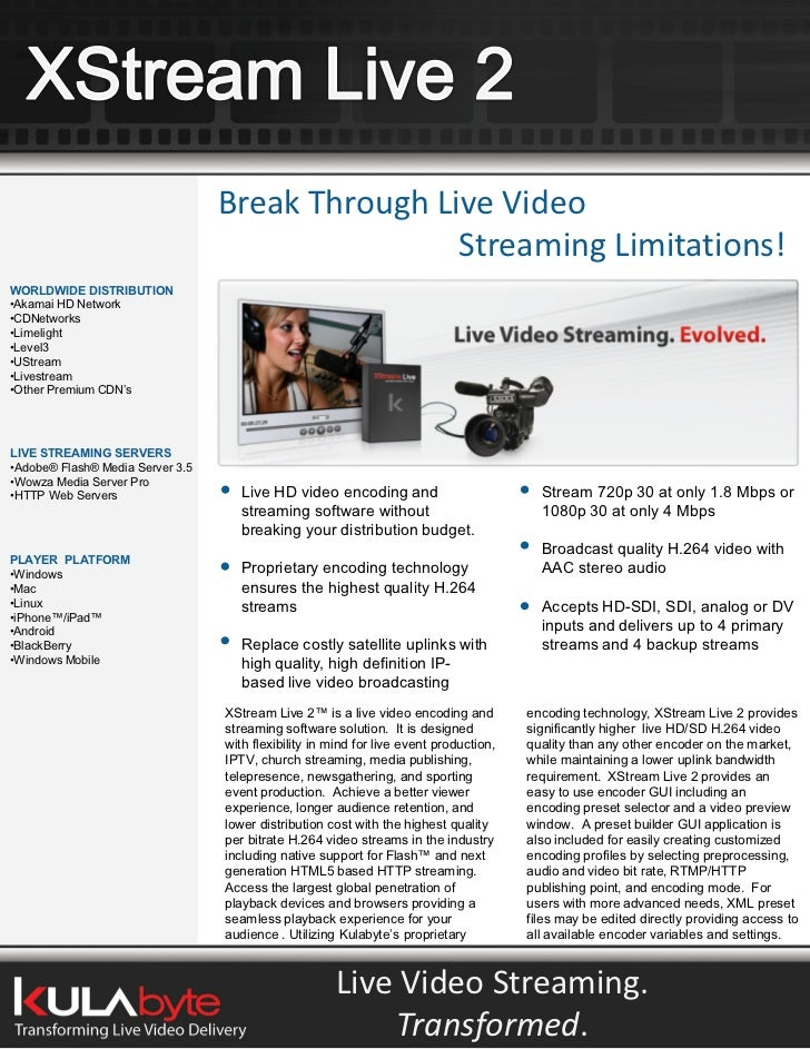 Break Through Live Video                                                   Streaming Limitations! WORLDWIDE DISTRIBUTION •...