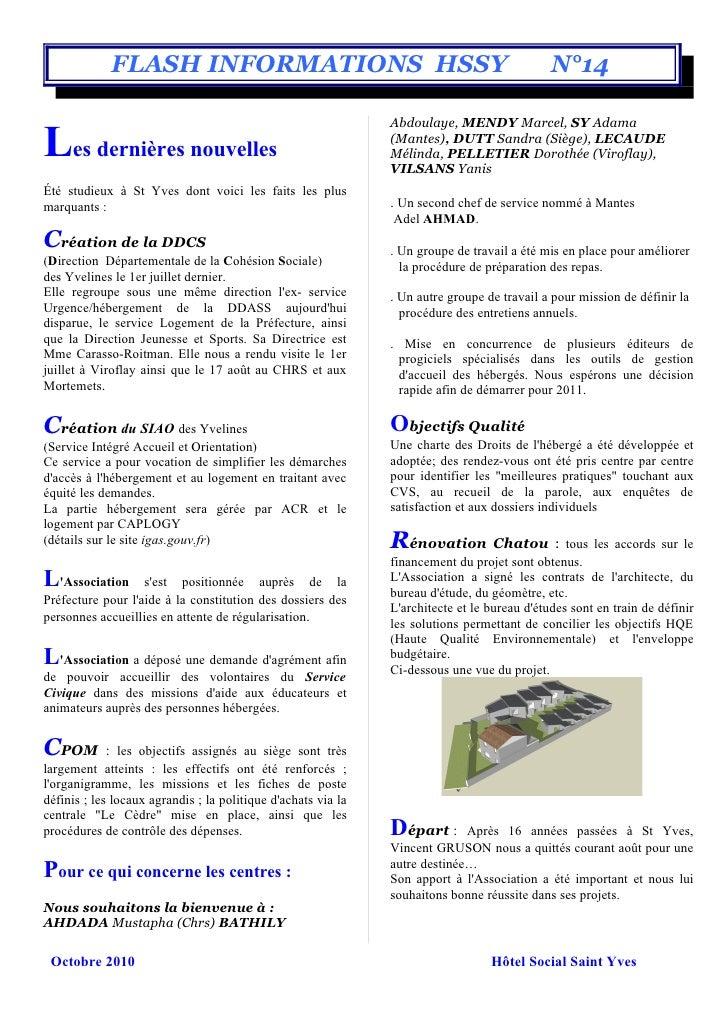 FLASH INFORMATIONS HSSY                                                          N°14                                     ...