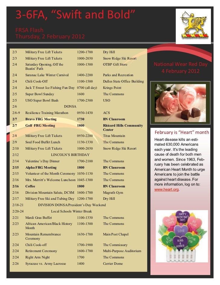 "3-6FA, ""Swift and Bold""  FRSA Flash  Thursday, 2 February 20122/3       Military Free Lift Tickets           1200-1700    ..."