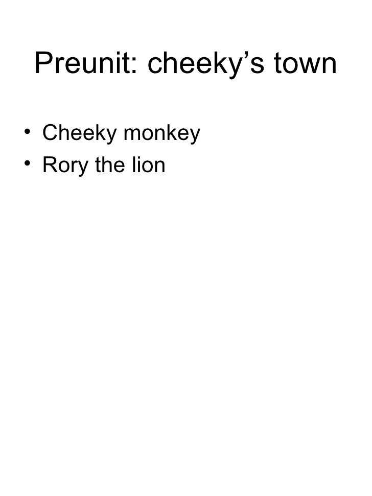 Preunit: cheeky's town <ul><li>Cheeky monkey </li></ul><ul><li>Rory the lion </li></ul>