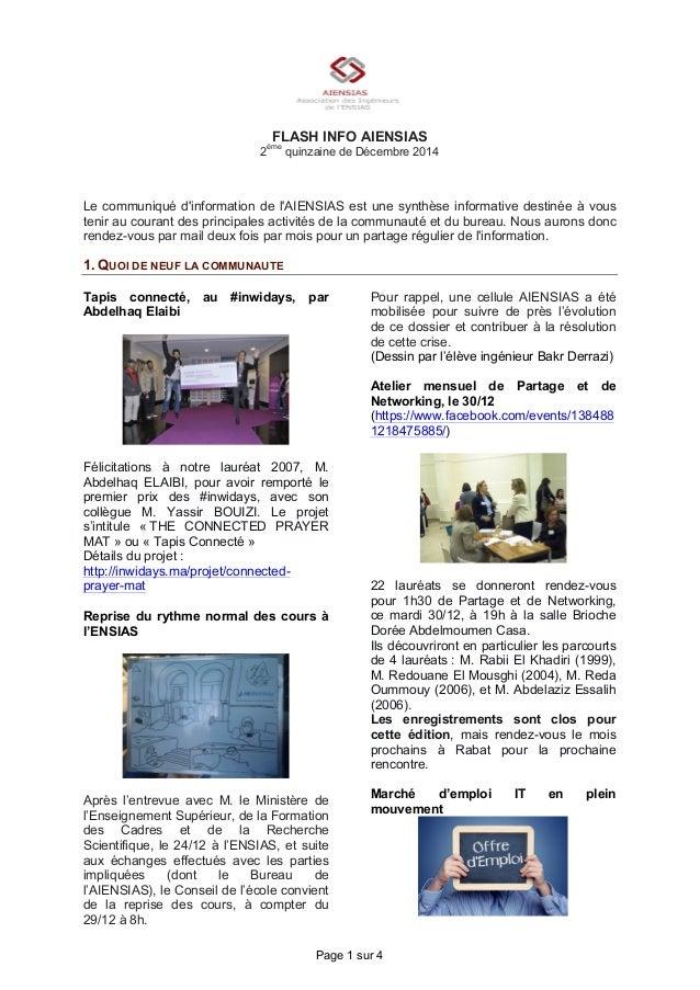 Page 1 sur 4 FLASH INFO AIENSIAS 2 ème quinzaine de Décembre 2014 Le communiqué d'information de l'AIENSIAS est une synthè...