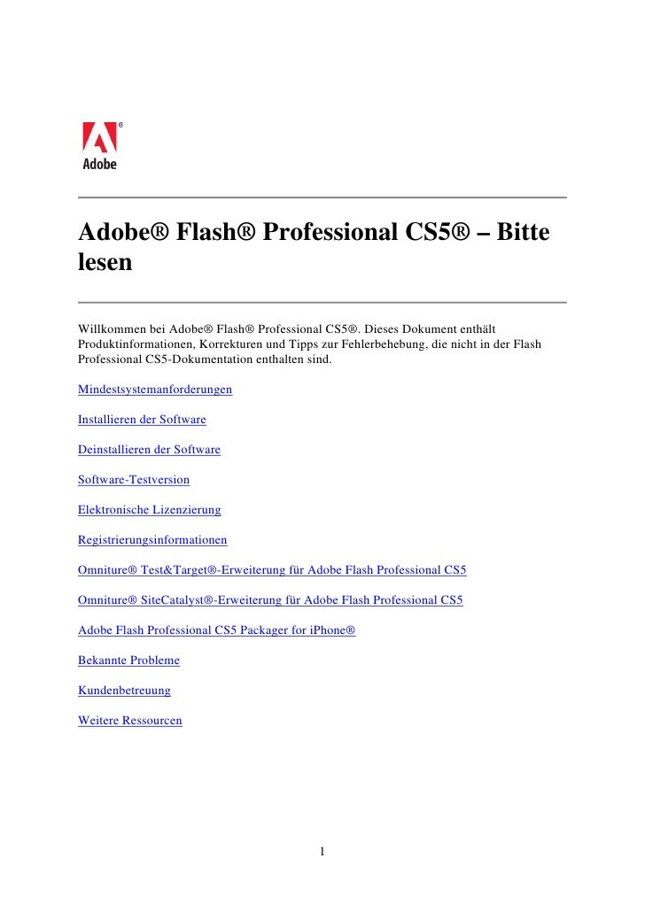 Adobe® Flash® Professional CS5® – BittelesenWillkommen bei Adobe® Flash® Professional CS5®. Dieses Dokument enthältProdukt...