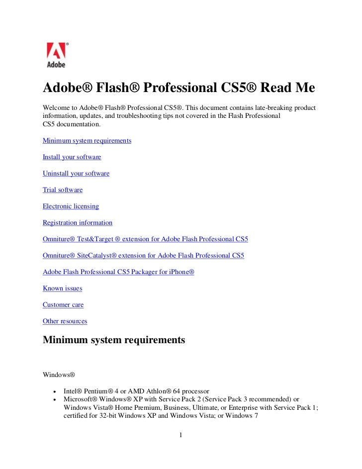 Adobe® Flash® Professional CS5® Read MeWelcome to Adobe® Flash® Professional CS5®. This document contains late-breaking pr...