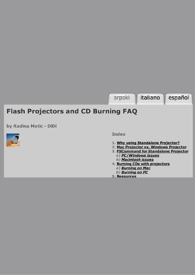Flash Projectors and Crossplatform CD Burning Tutorial