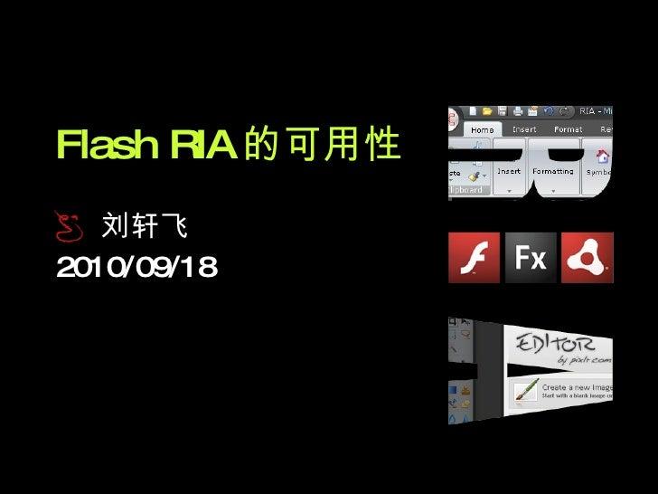 Flash RIA Usability