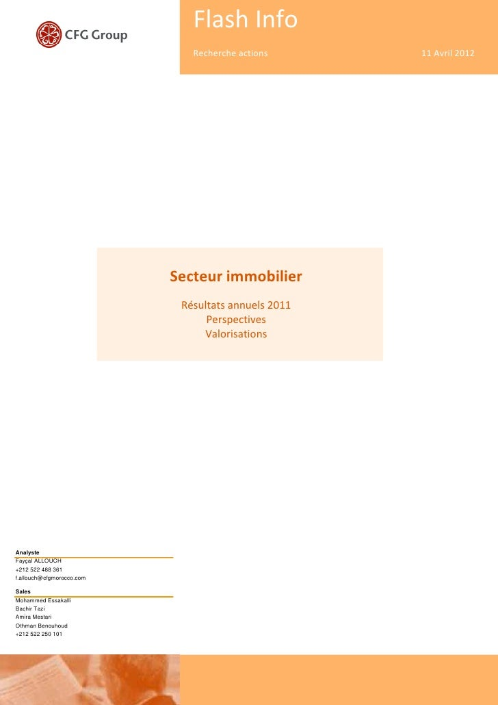 Flash Info                              Recherche actions      11 Avril 2012                           Secteur immobilier ...