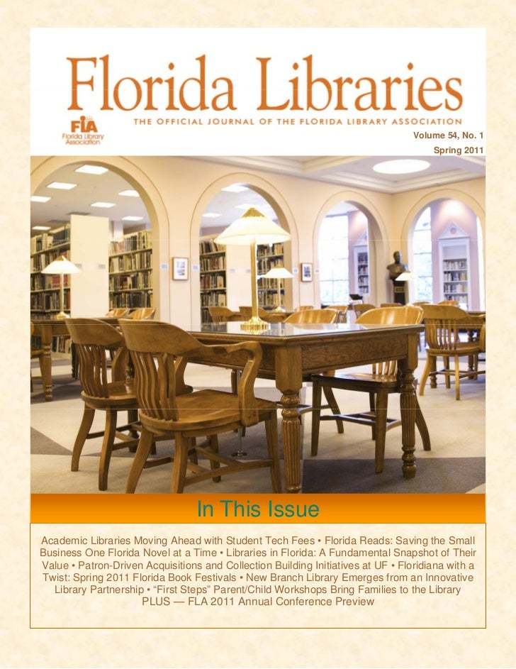 "Spring 2011 Issue of ""Florida Libraries"""