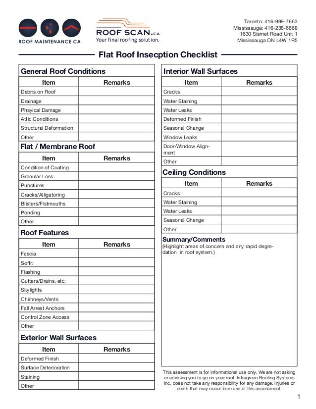 Flat Roof Inspection Checklist