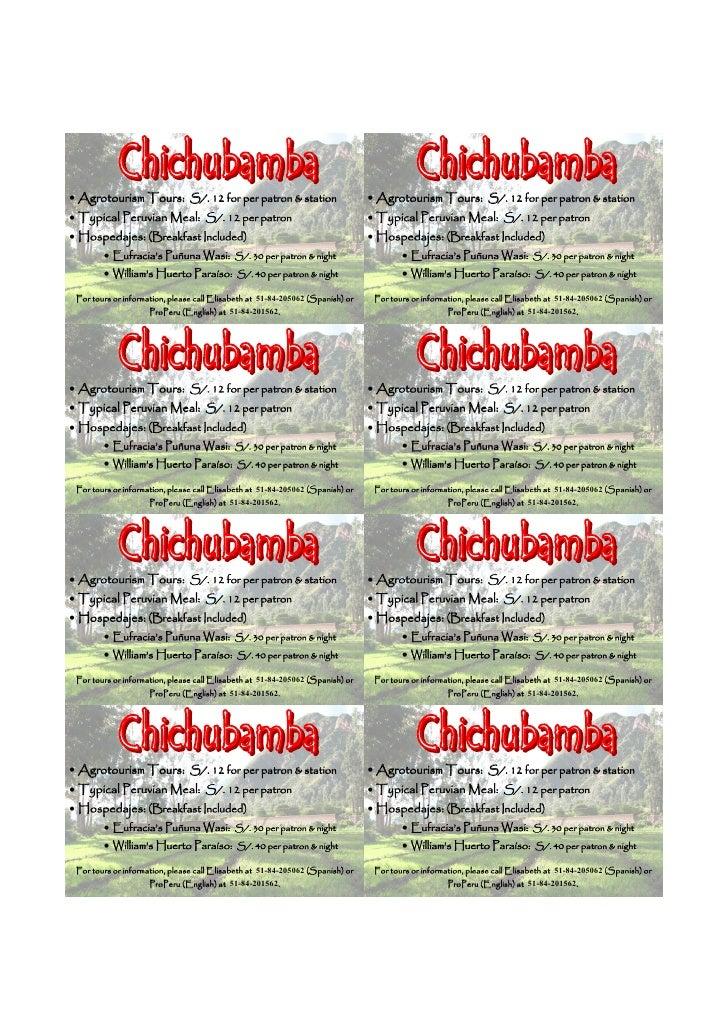 Price Insert for Chichubamba Brochure (English)
