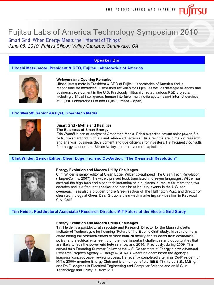 Speaker Biographies: FLA Tech Symposium 2010