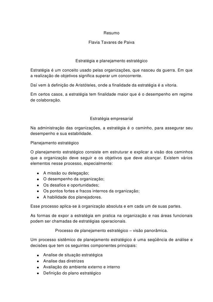 Resumo                               Flavia Tavares de Paiva                        Estratégia e planejamento estratégicoE...