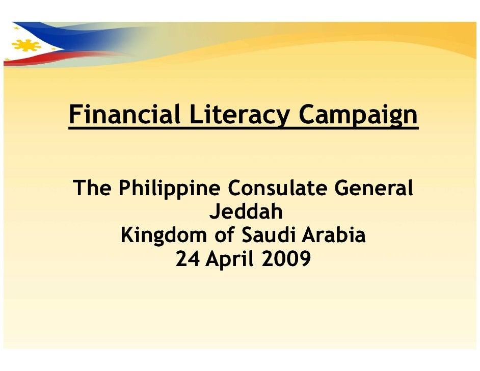Financial Literacy Campaign  The Philippine Consulate General              Jeddah     Kingdom of Saudi Arabia           24...