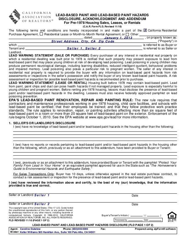 Fld   lead-based paint and lead-based paint hazards - 1110