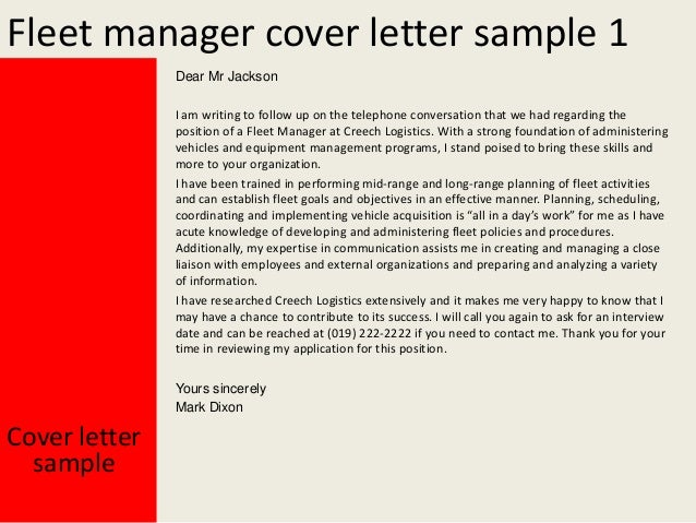 Fleet Manager Cover Letter