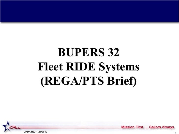 BUPERS 32 Fleet RIDE Systems (REGA/PTS Brief) UPDATED 1/25/2012