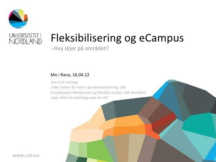 Fleksibilisering og eCampus- Hva skjer på området?Mo i Rana, 16.04.12Tom Erik HoltengLeder Senter for etter- og videreutda...