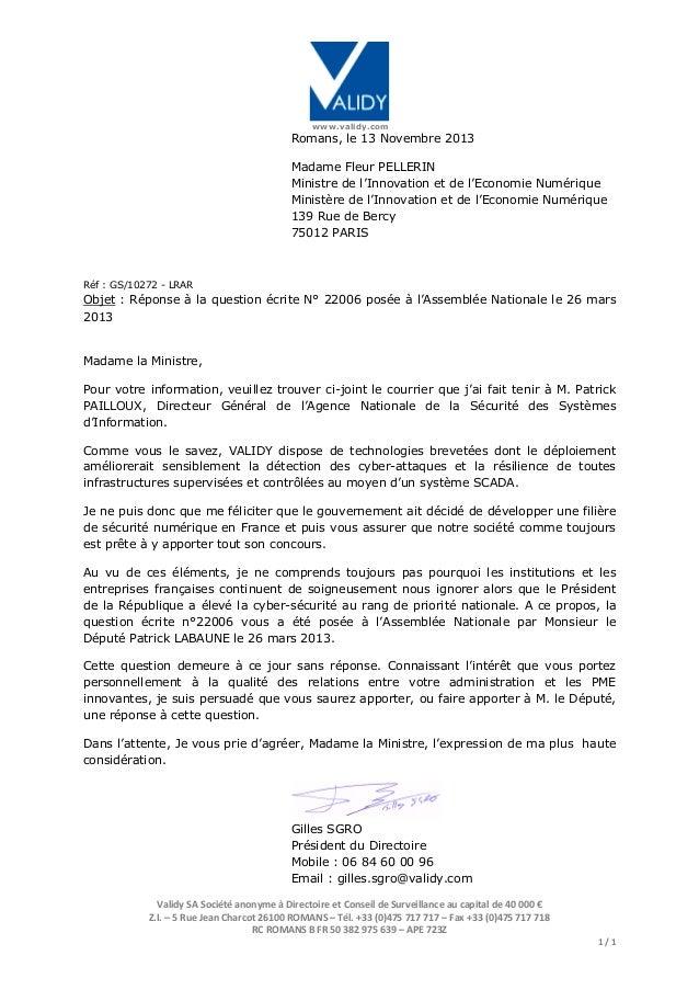 www.validy.com  Romans, le 13 Novembre 2013 Madame Fleur PELLERIN Ministre de l'Innovation et de l'Economie Numérique Mini...