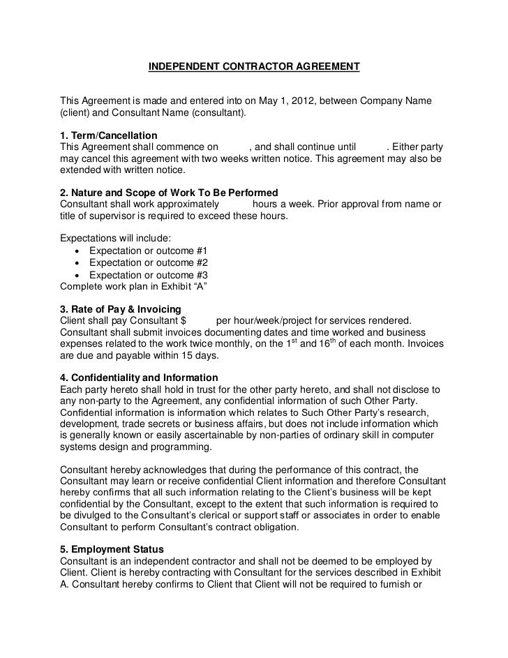 Independent Contractor Contract Form Crefrlh - It contractor contract template