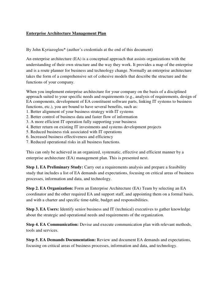 Enterprise Architecture Management PlanBy John Kyriazoglou* (author's credentials at the end of this document)An enterpris...