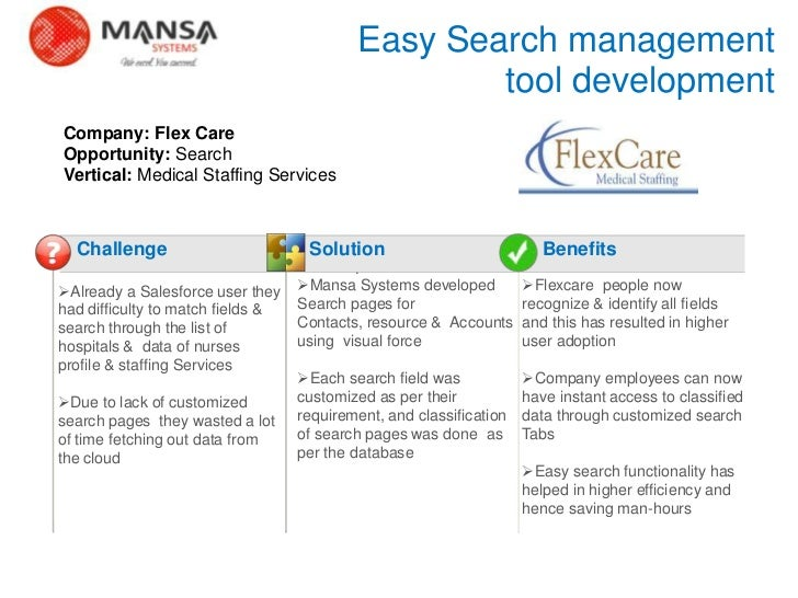 Easy Search management                                                       tool development    Company: Flex Care    Opp...