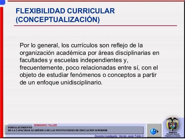 Seminario Taller: Fortalecimiento de la Capacidad Académica de las IES Hernán Javier Pulido Cardozo - 2004 FLEXIBILIDAD CU...