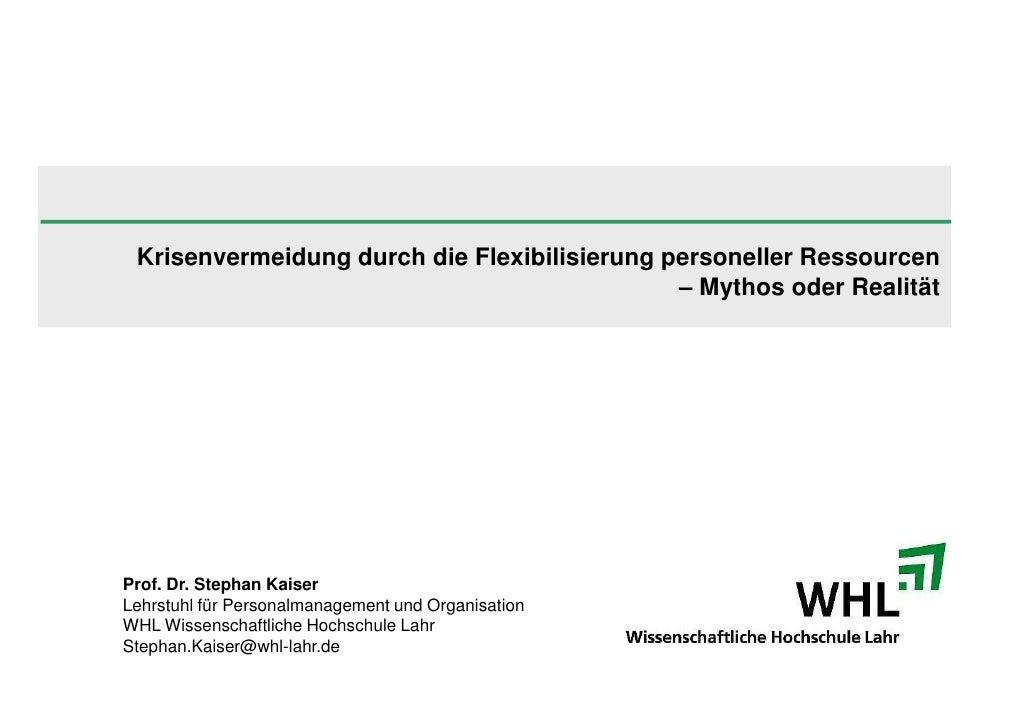 Krisenvermeidung durch die Flexibilisierung personeller Ressourcen                                               – Mythos ...