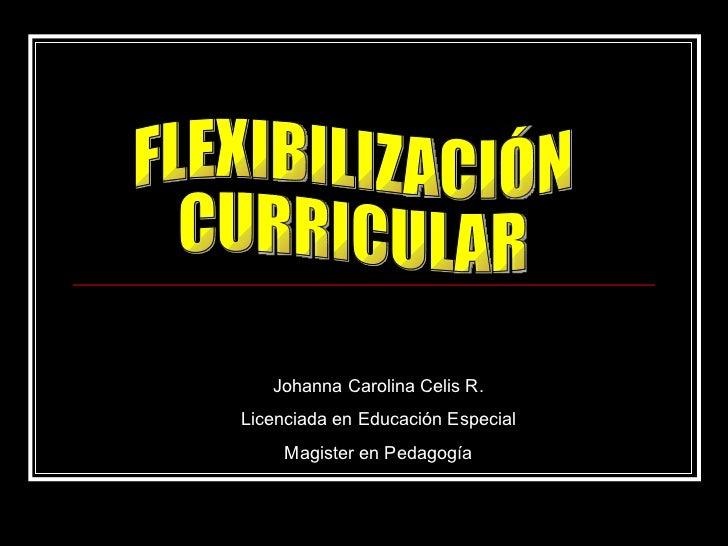FLEXIBILIZACIÓN CURRICULAR Johanna Carolina Celis R. Licenciada en Educación Especial Magister en Pedagogía