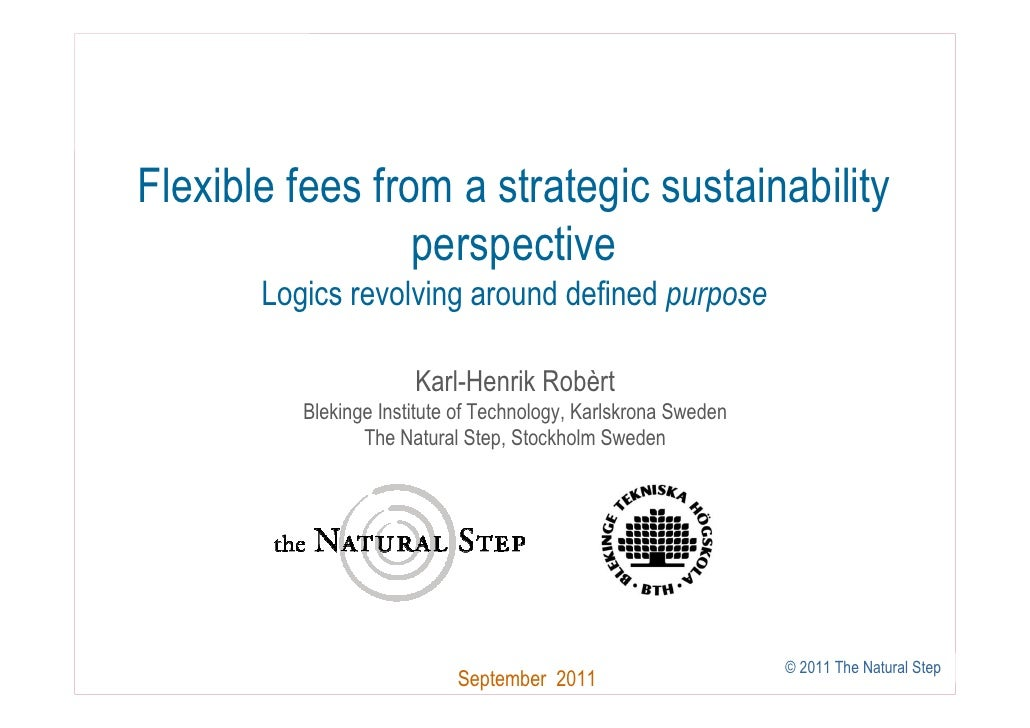 Flexible fees from a strategic sustainability                 perspective       Logics revolving around defined purpose   ...
