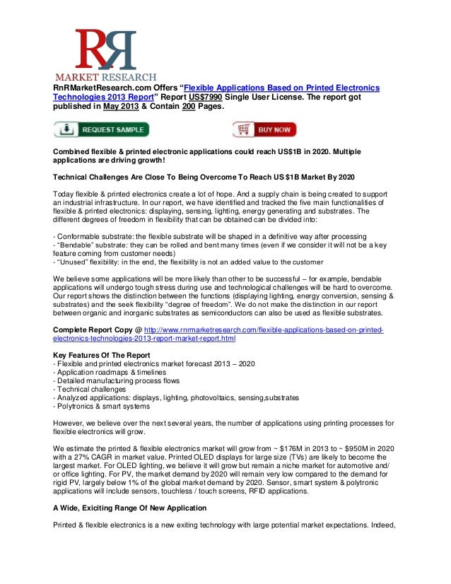 """RnRMarketResearch.com Offers """"Flexible Applications Based on Printed ElectronicsTechnologies 2013 Report"""" Report US$7990 S..."""