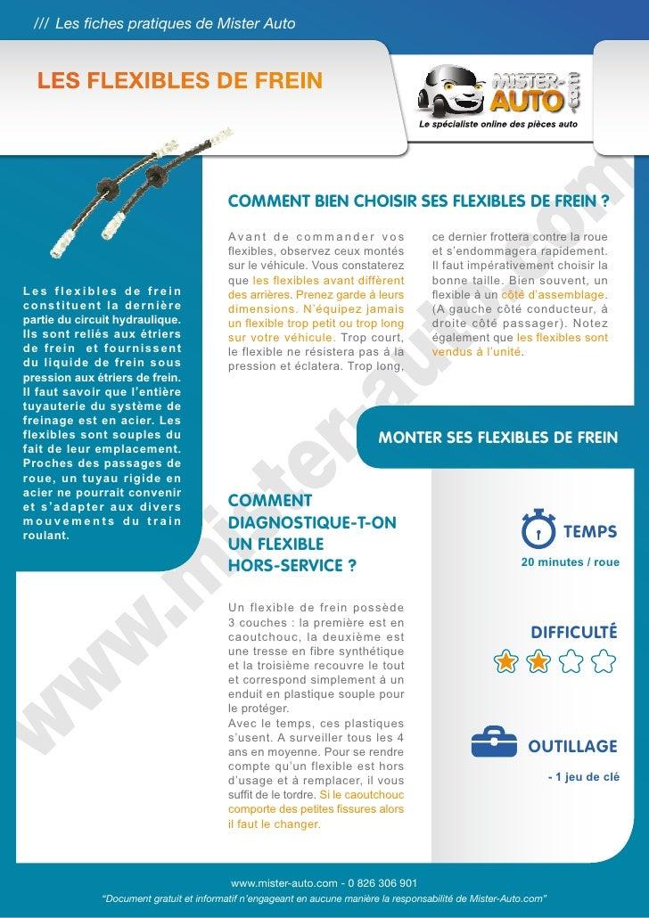 /// Les fiches pratiques de Mister Auto  LES Flexibles de frein                                          Comment bien choi...