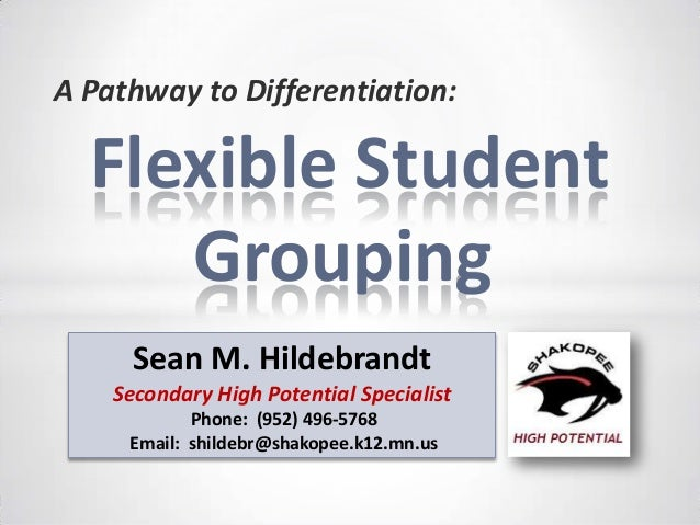 A Pathway to Differentiation:  Flexible Student Grouping Sean M. Hildebrandt Secondary High Potential Specialist Phone: (9...