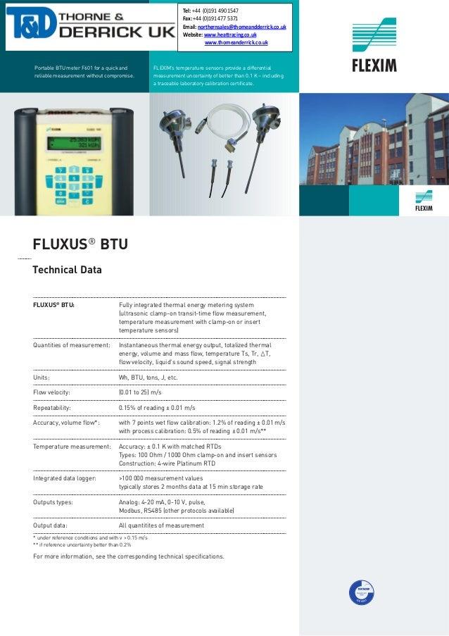 Flexim Fluxus Ultrasonic Flow Meters, Heat Quantity, BTU & Flow Metering - Brochure