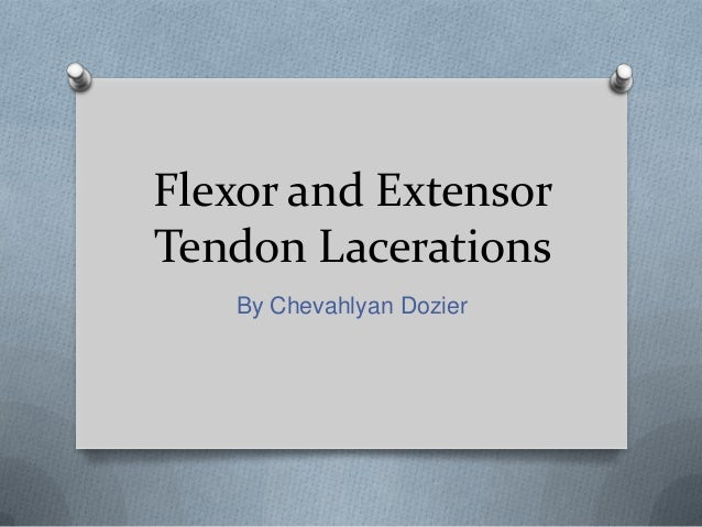 Flexor and Extensor Tendon Lacerations By Chevahlyan Dozier