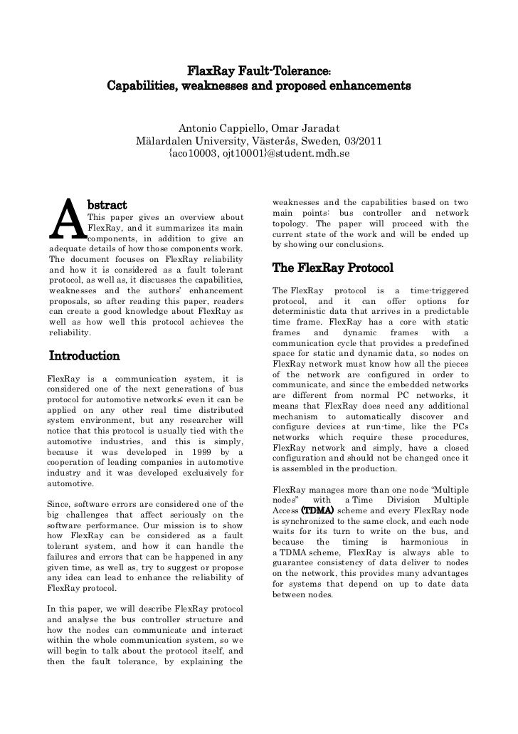 FlaxRay Fault-Tolerance:               Capabilities, weaknesses and proposed enhancements                               An...