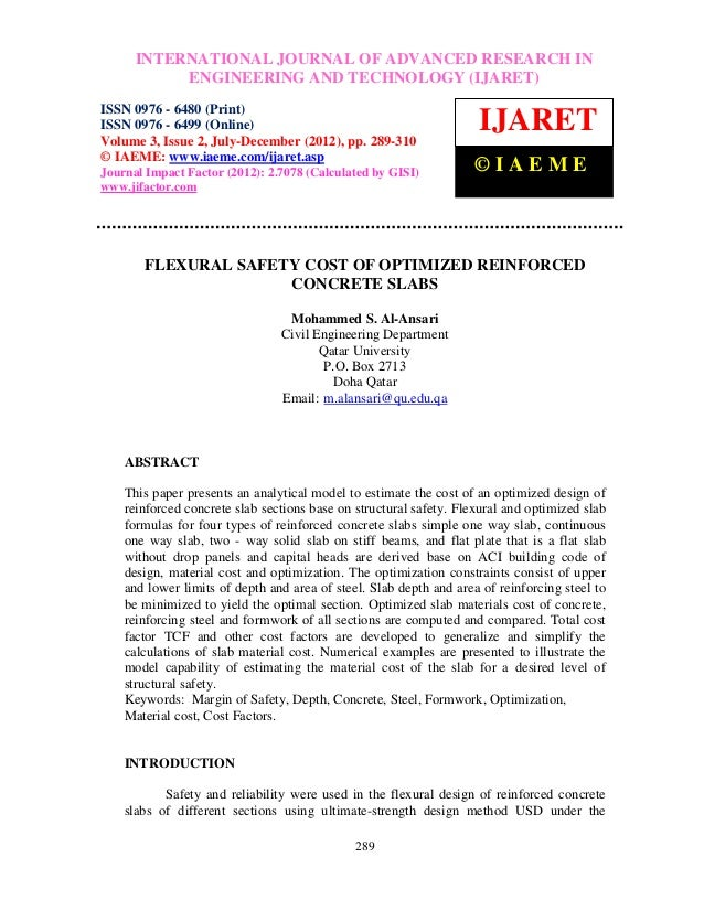 Flexural safety cost of optimized reinforced