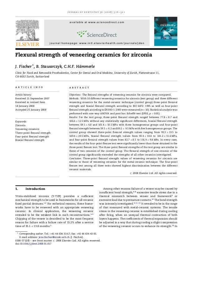 Flexural strengthofveneeringceramicsforzirconia