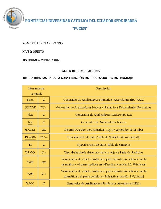 """PONTIFICIA UNIVERSIDAD CATÓLICA DEL ECUADOR SEDE IBARRA """"PUCESI"""" NOMBRE: LENIN ANDRANGO NIVEL: QUINTO MATERIA: COMPILADORE..."""