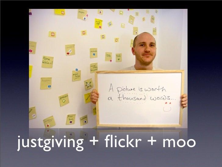 justgiving + flickr + moo