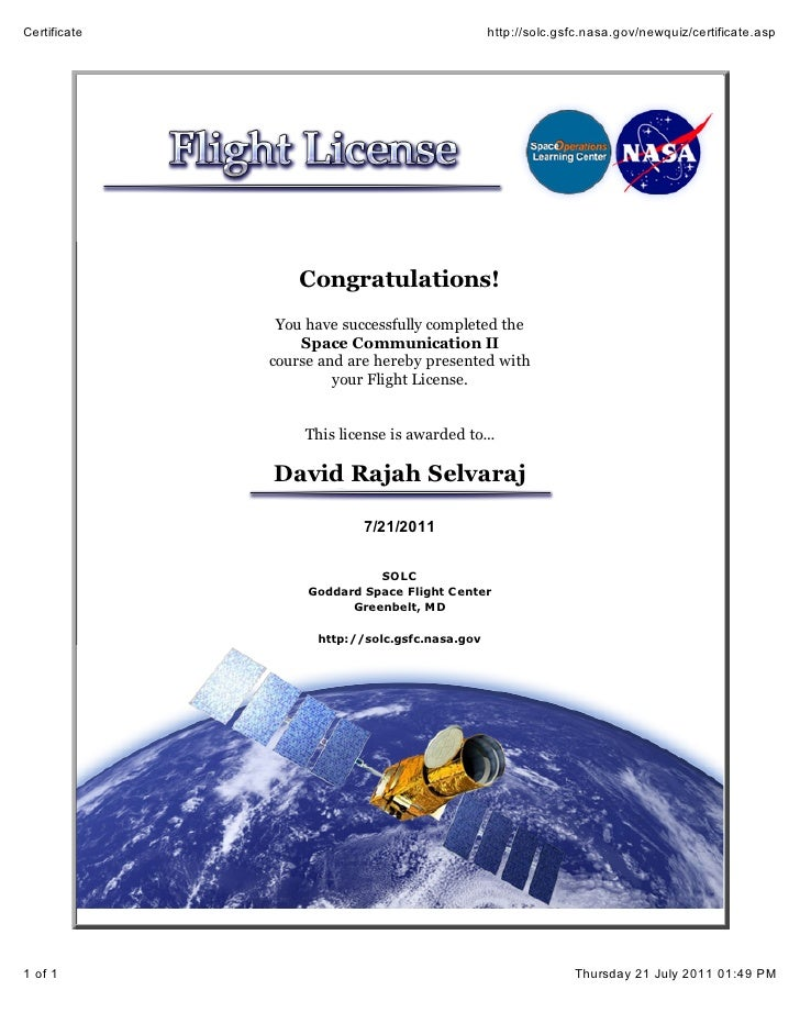 Flight certificate of David Rajah