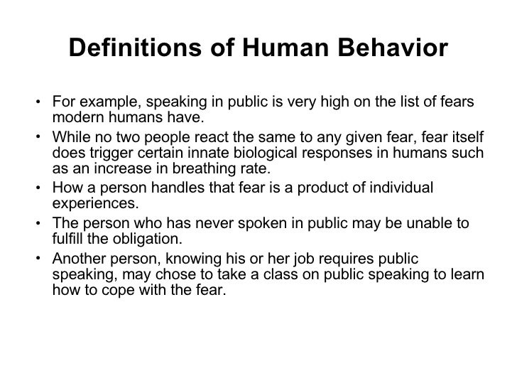 explanation of human behavior Chapter three biological evolution human beings are animals this is not a reference to our behavior (although, of course, some people do act like animals.