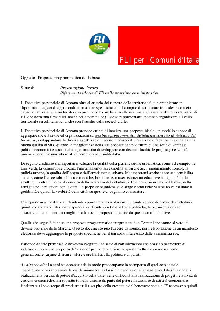 FLI per i Comuni d'ItaliaOggetto: Proposta programmatica della baseSintesi:                  Presentazione lavoro         ...