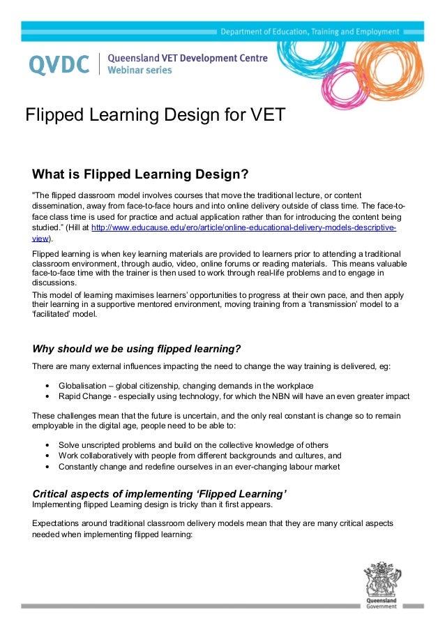 Flipped Learning Design for VET Factsheet