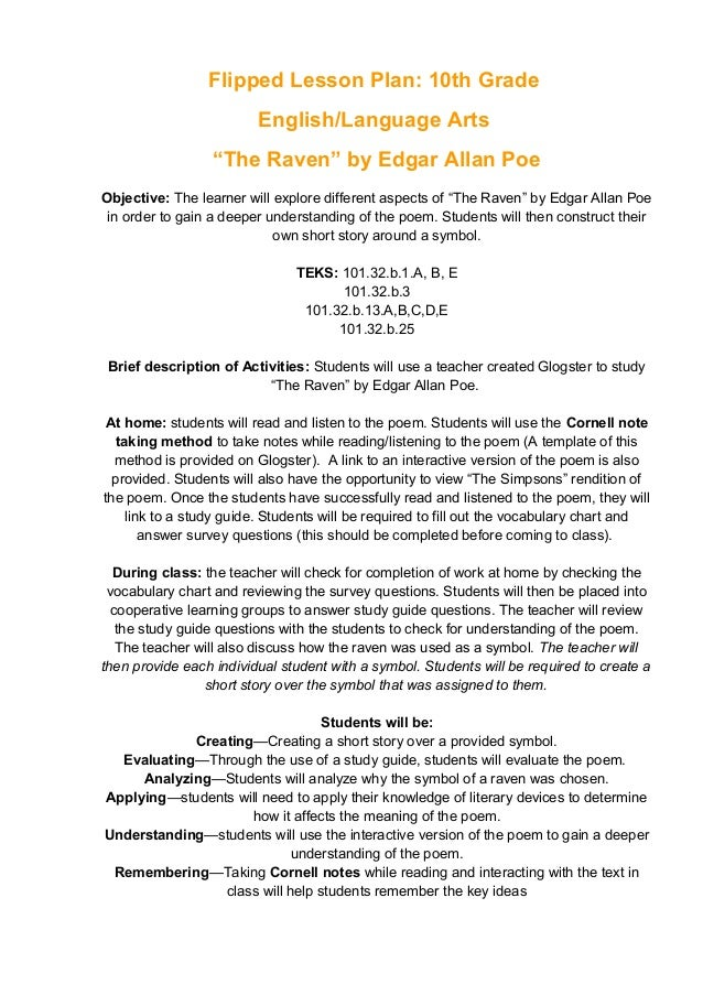 "Flipped Lesson Plan: 10th Grade English/Language Arts ""The Raven"" by Edgar Allan Poe Objective: The learner will explore d..."