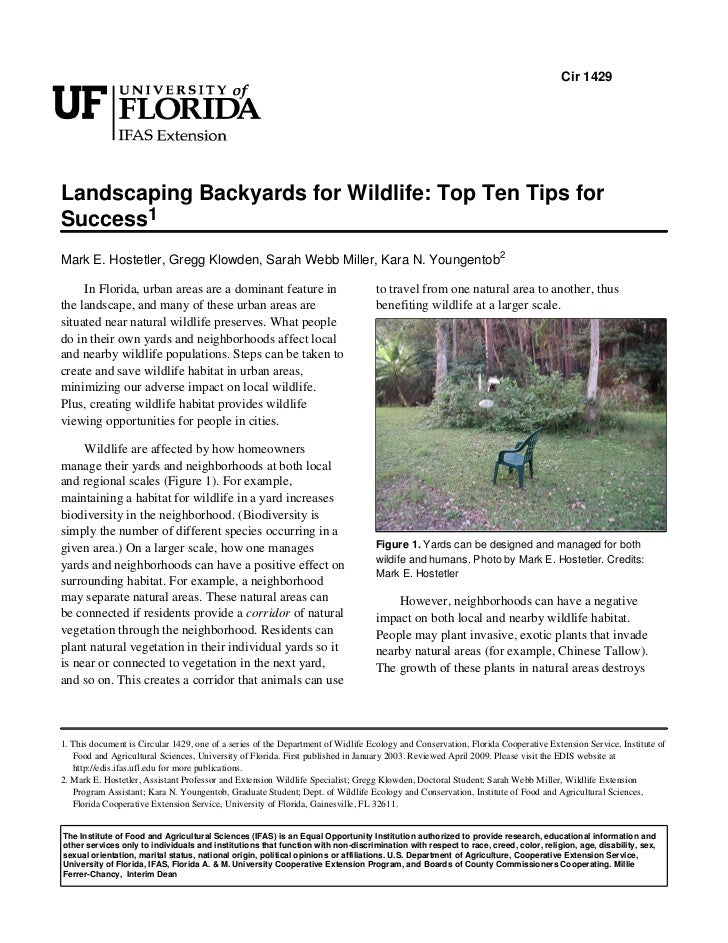 Cir 1429Landscaping Backyards for Wildlife: Top Ten Tips forSuccess1Mark E. Hostetler, Gregg Klowden, Sarah Webb Miller, K...