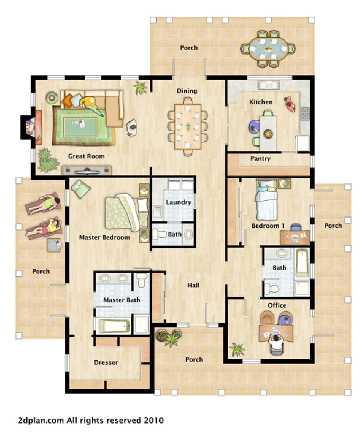 House furnished floor plan illustrations House layout plan
