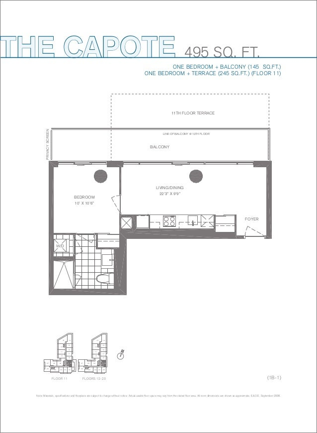THE CAPOTE  495 SQ. FT.  ONE BEDROOM + BALCONY (145 SQ.FT.) ONE BEDROOM + TERRACE (245 SQ.FT.) (FLOOR 11)  PRIVACY SCREEN ...