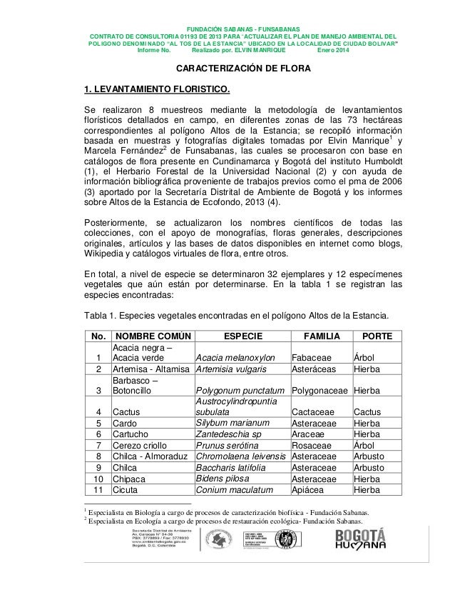 """FUNDACIÓN SABANAS - FUNSABANAS CONTRATO DE CONSULTORIA 01193 DE 2013 PARA """"ACTUALIZAR EL PLAN DE MANEJO AMBIENTAL DEL POLI..."""