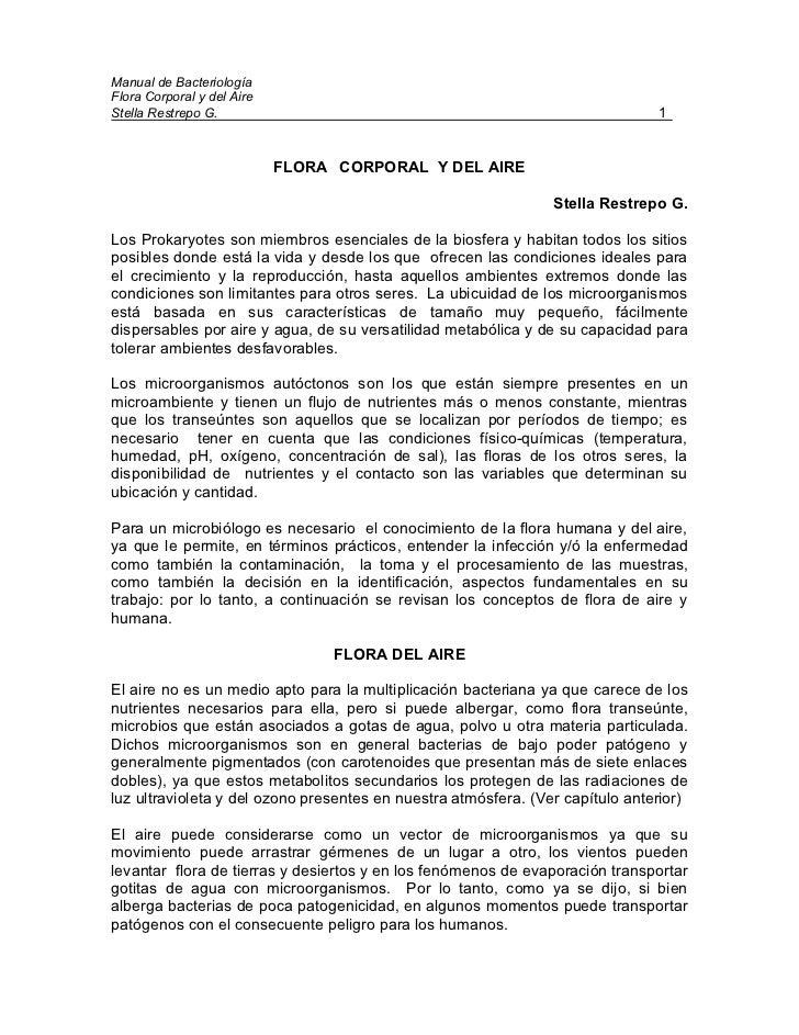 Manual de Bacteriología Flora Corporal y del Aire Stella Restrepo G.                                                      ...